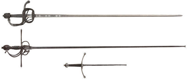 Fig. 5. Rapier foil and matching foil dagger (on left.) Circa late 16th century (Victoria and Albert Museum Collection. London.) http://collections.vam.ac.uk/item/O97521/rapier-alonso-perez/