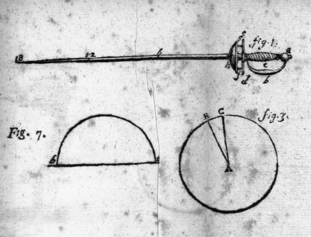 Fig. 8. Marco Marcello Vandoni's treatise, Elementi della Scherma [1750], depicting an 18th century cup-hilt rapier.