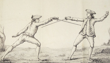The parry of seconde on the attack in seconde ancienne. Danet, Guillaume. L'art des armes. Tome premier. Paris, 1766.