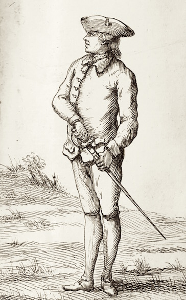 First Position (before drawing the sword. Danet, Guillaume. L'art des armes. Tome premier. Paris, 1766.