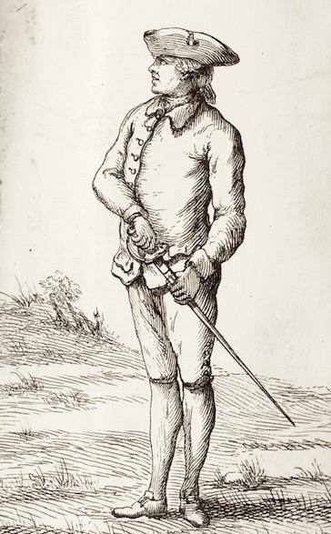 First Position (before drawing the sword. Danet, Guillaume. L'art des armes. Tome premier. Paris, 1766.