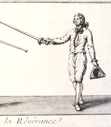 The reverence/salute. Le Perche. L'Exercice Des Armes. circa 1740's.