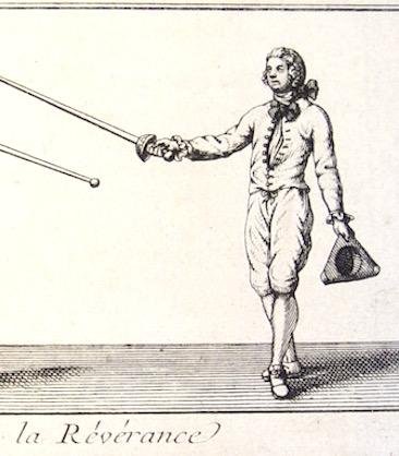 The reverence/salute. Le Perche. L'Exercice Des Armes. circa 1740's.