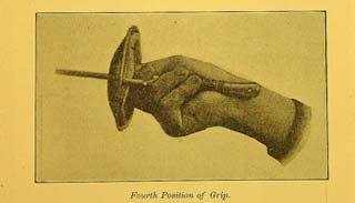 (Figs. 1) Generoso Pavese, 1905. The method of gripping the Italian foil according to the Neapolitan/Roman school.