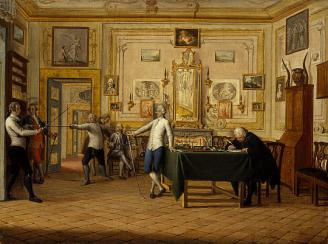 "Fig. 9. Painting titled, ""Kenneth Mackenzie, 1st Earl of Seaforth 1744-1781 at home in Naples: fencing scene"" by Pietro Fabris, 1771. From the Scottish National Portrait Gallery. https://art.nationalgalleries.org/art-and-artists/8219/kenneth-mackenzie-1st-earl-seaforth-1744-1781-home-naples-fencing-scene-1771"