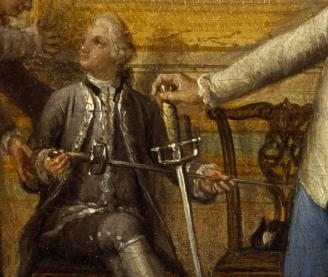 Fig. 10. Detail from Pietro Fabris's painting, showing hilts of eighteenth century fiorettos.