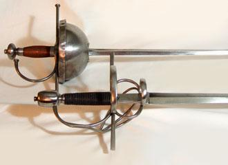 Spanish Rapiers replicas, close-up of Swept-hilt and Cup-hilt.
