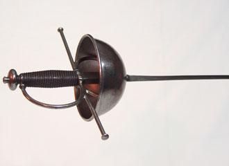 Cup-hilt Rapier replica, close-up of hilt.