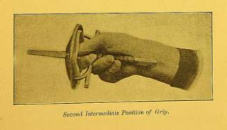 (Figs. 2) Generoso Pavese, 1905. The method of gripping the Italian foil according to the Neapolitan/Roman school.